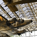 A DC3 hangin from the ceiling of the Air and Space Museum of the Smithsonian