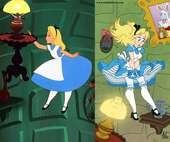 Side by side images of Alice Falling Down the Rabbit Hole form the 1951 movie and a mature alice from 2009
