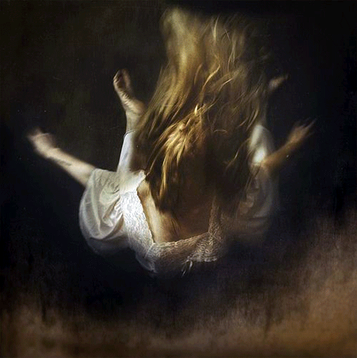 Realistic painting of a falling female figure